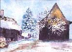 Maisons alsaciennes sous la neige